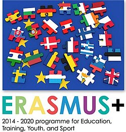 "Fahnen der EU-Länder in From von Puzzle-Teilen. Darunter der Text ""Erasmus Plus 2014 bis 2020 programme for education, training, youth and sport."